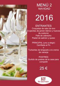 Celebra en Bar Zona Franca menu 2 navidad