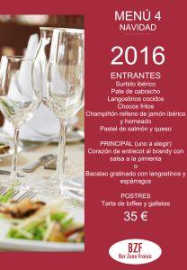 Celebra en Bar Zona Franca menu 4 navidad